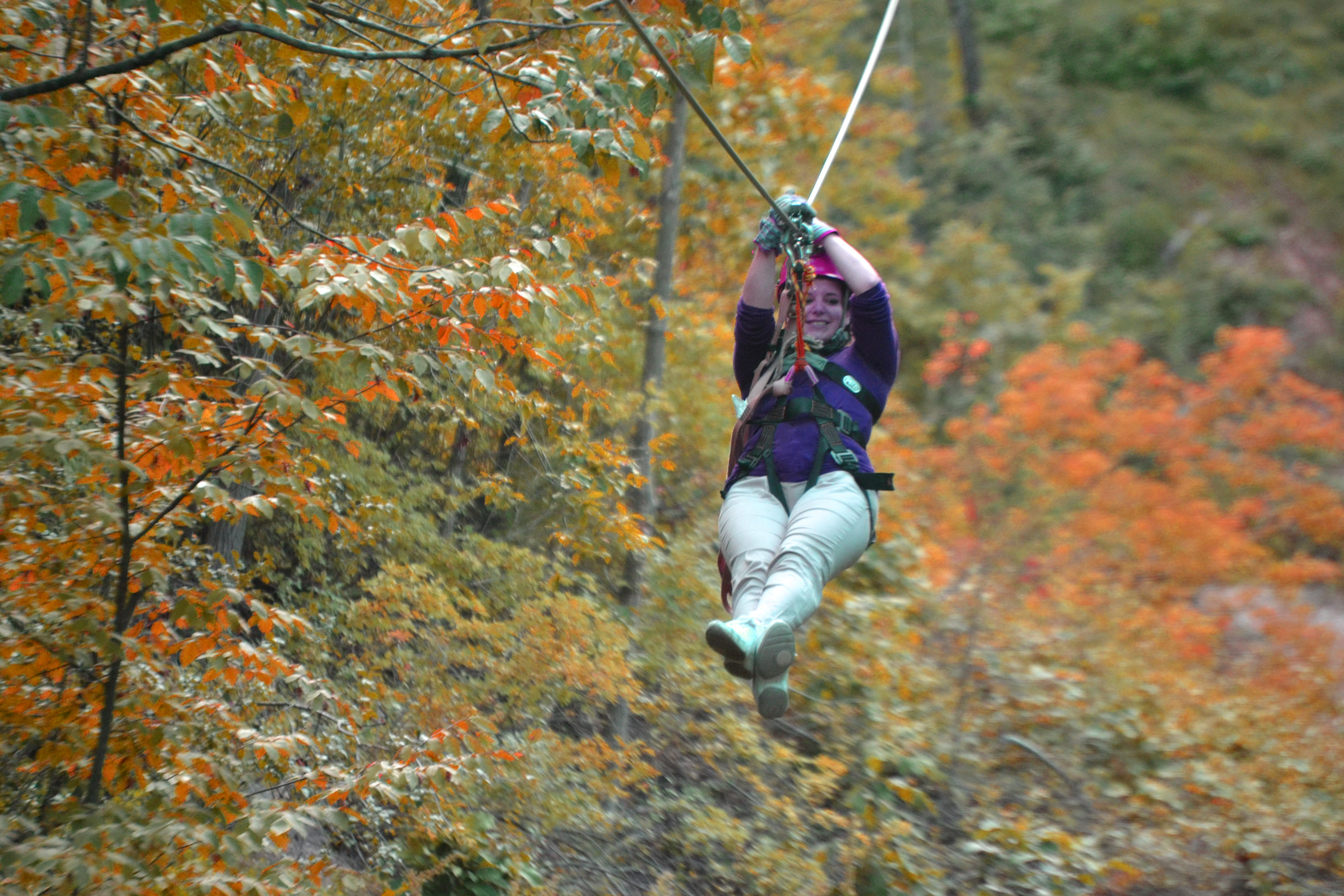 Experience Fall Colors In A Whole New Way Eye Level Zip Through The Trees With Lake Geneva Canopy Tours
