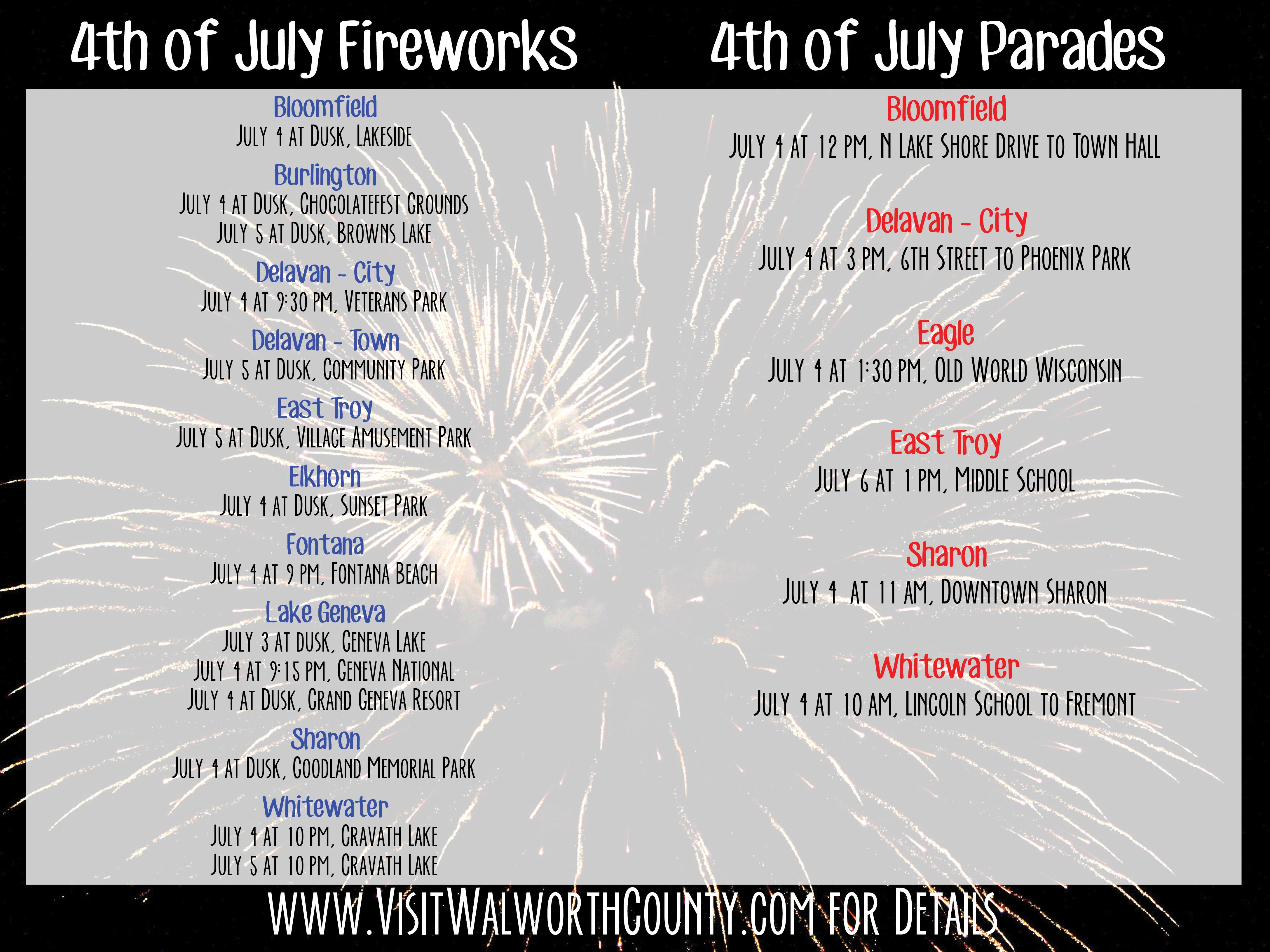 2014 July 4 Fireworks Parades  sc 1 st  Walworth County Visitors Bureau - WordPress.com & 4th of July in the Lake Geneva Area 2014