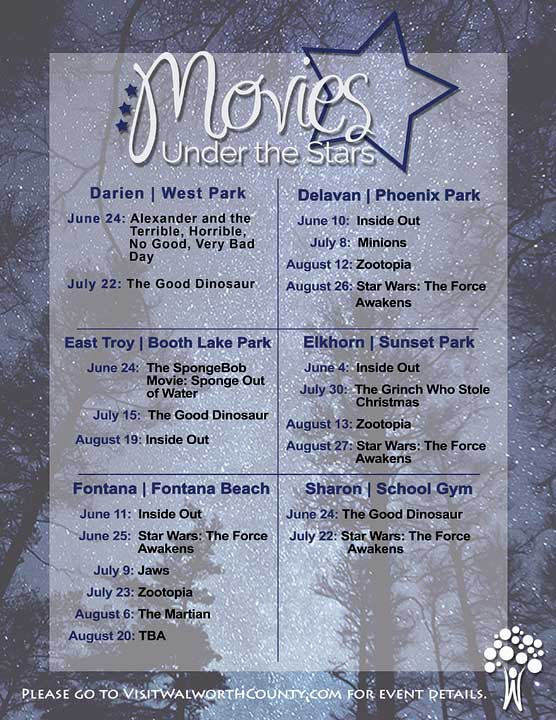 2016 Movies Under The Stars in Walworth County