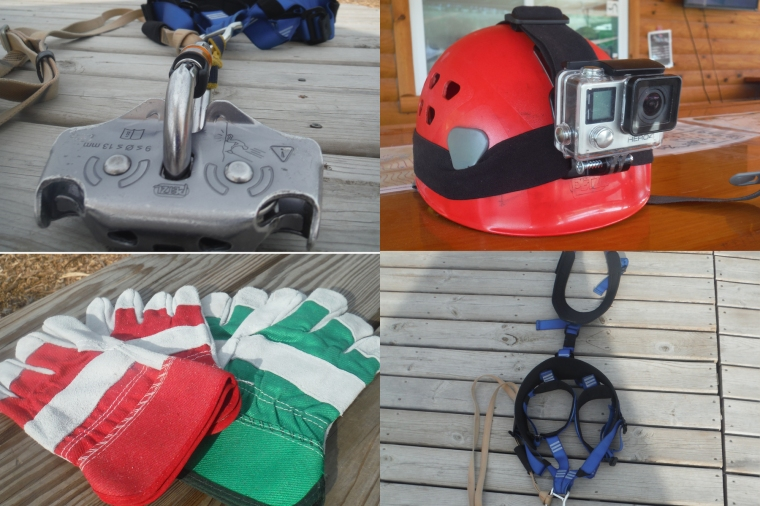 Safety Gear worn for zip lining at Lake Geneva Canopy Tours