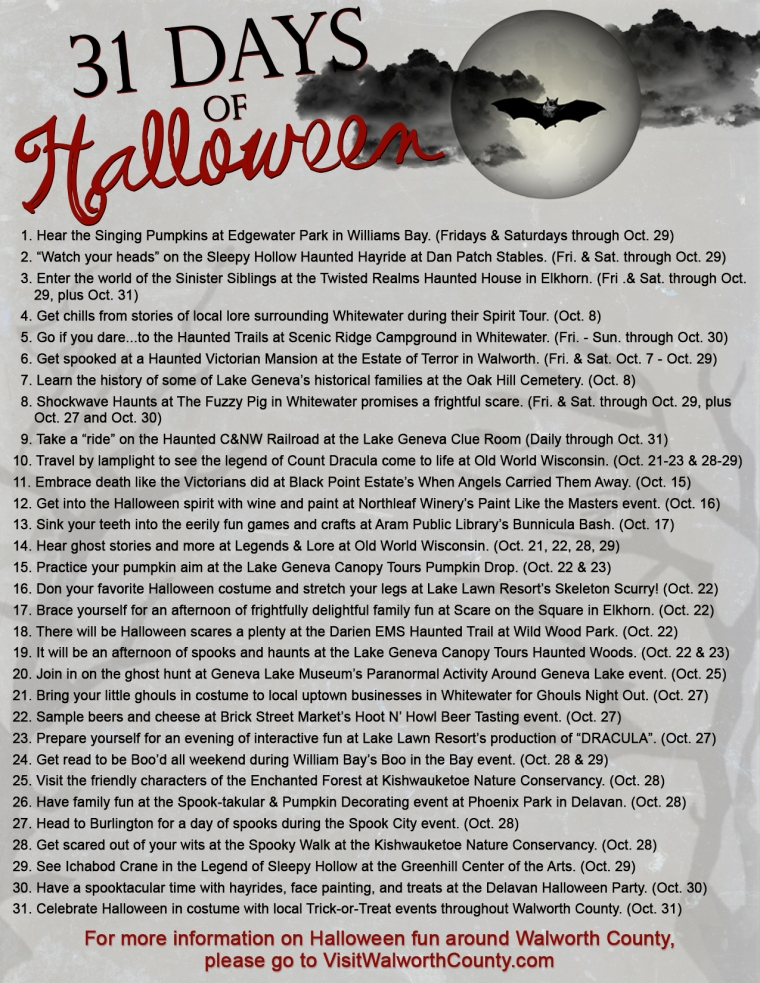 31 Days of Halloween Fun throughout the Lake Geneva area. Walworth County 2016