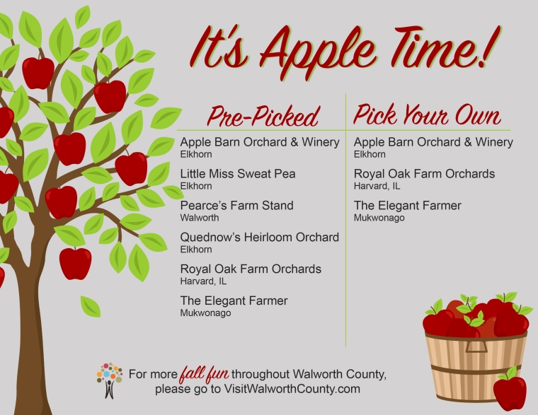 It's Apple Time in Walworth County. Walworth County Apple Orchards; Pick Your Own & Pre-Picked.