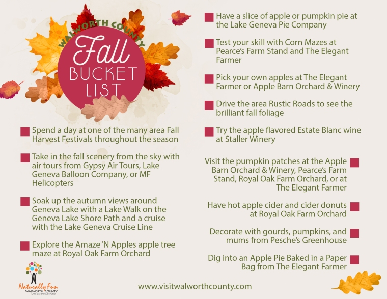 Fun things to do throughout fall in Walworth County, WI.