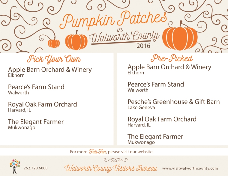 Pumpkin Patches throughout the Lake Geneva area, Walworth County, WI