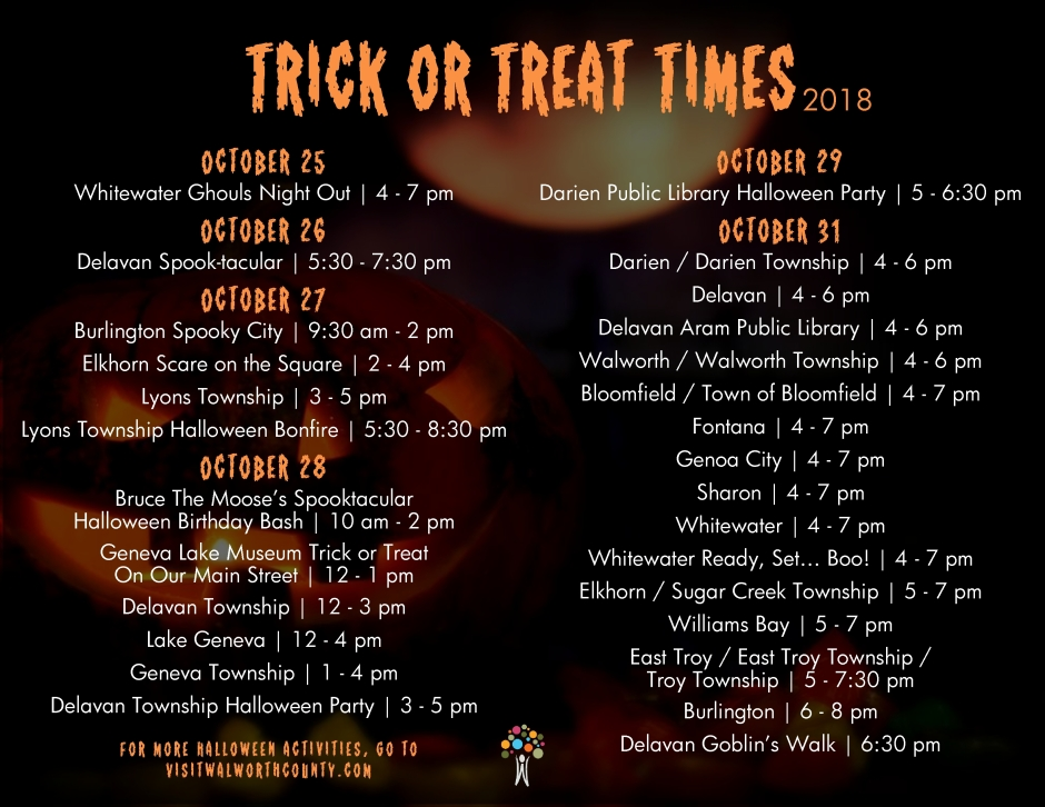 Halloween 2020: Walworth County Wi. Trick-Or-Treat Times trick or treat